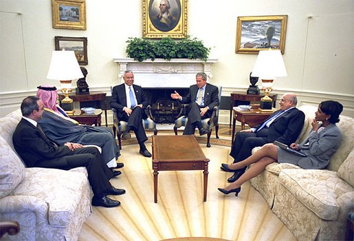 President George W. Bush, Secretary of State Colin Powell, and National Security Advisor Dr. Condoleezza Rice meet with the Foreign Ministers of Saudi Arabia, Egypt and Jordan in the Oval Office Thursday, July 18. They are (from left) Dr. Marwan Jamil Muasher of Jordan, Prince Saud Al-Faisal of Saudi Arabia and Ahmed Maher El Sayed of Egypt. White House photo by Paul Morse.