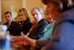 "President George W. Bush meets with democratic members of Congress to discuss the legislation before Congress to create a department of Homeland Security in the Cabinet Room Wednesday, July 24. ""And I want to thank the leaders who are here for their willingness to put partisanship aside and focus on what's best for the American people. I believe we're going to get a good bill on Friday out of the House. I ask the Senate to vote on the bill before they go home for their August vacation,"" said President Bush."