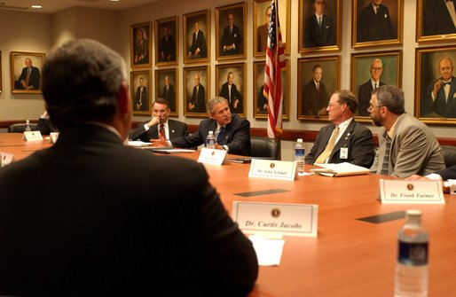 President George W. Bush addresses medical liability reforms during a roundtable discussion at High Point University, Greensboro, N.C., Thursday, July 25.