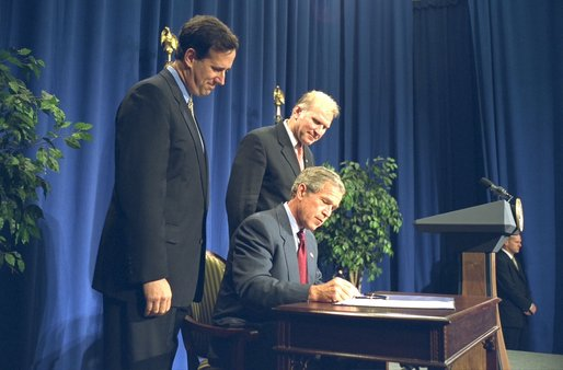 President George W. Bush signs the Born Alive Infants Protection Act of 2002 in Pittsburgh, Pa., Monday, Aug. 5. White House photo by Paul Morse.