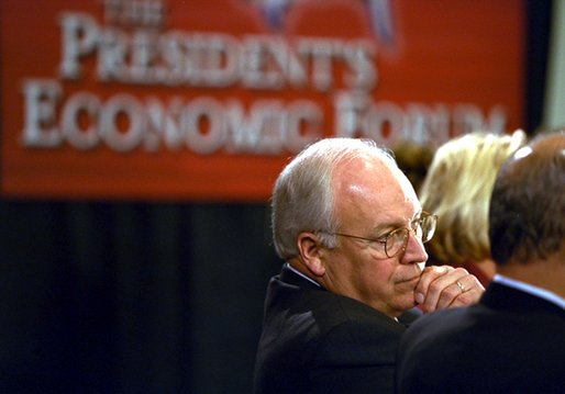 Vice President Dick Cheney listens to participants at the New Jobs Through Free Trade discussion session at the President's Economic Forum in Waco, Texas Tuesday August 13, 2002.