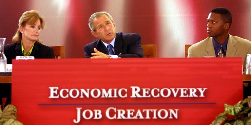 President George W. Bush address panelists at the Economic Recovery and Job Creation discussion panel at the President's Economic Forum held at Baylor University in Waco, Texas on Tuesday August 13, 2002.