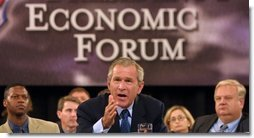 President George W. Bush makes a statement on how to improve the economy at the plenary session of the President's Economic Forum held at Baylor University in Waco, Texas on Tuesday August 13, 2002. White House photo by Paul Morse.
