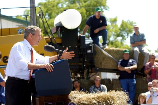 President George W. Bush addresses an audience of about 2,000 people at the Iowa State Fair Fairgrounds near Des Moines, Wednesday, Aug. 14.