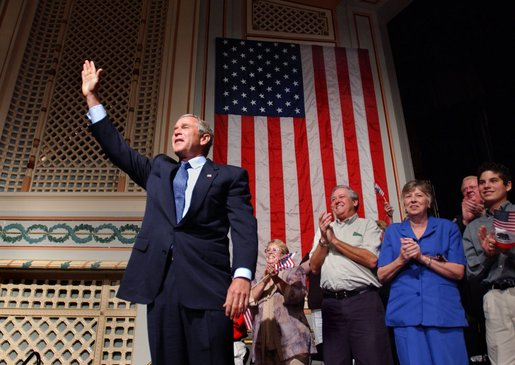 President George W. Bush waves to the crowd during his introduction at the Stockton Memorial Auditorium in Stockton, Calif., Friday, Aug. 23. White House photo by Eric Draper.