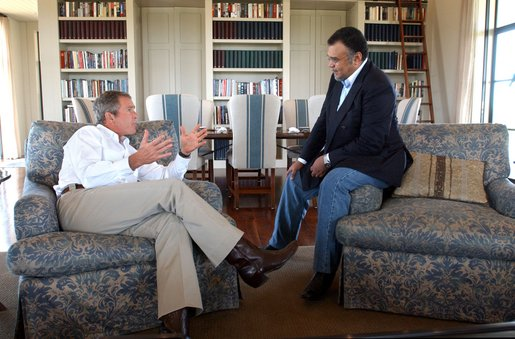 President George W. Bush meets with Saudi Arabian Ambassador Prince Bandar bin Sultan at the Bush Ranch in Crawford, Texas, Tuesday, Aug. 27, 2002 White House photo by Eric Draper.