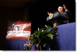 President George W. Bush addresses the audience at Parkview Arts and Science Magnet High School in Little Rock, Arkansas, Thursday, Aug. 29. White House photo by Eric Draper.