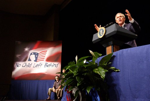 President George W. Bush addresses the audience at Parkview Arts and Science Magnet High School in Little Rock, Arkansas, Thursday, Aug. 29.