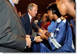 President George W. Bush greets students after remarks at Parkview Arts and Science Magnet High School in Little Rock, Arkansas, Thursday, Aug. 29. White House photo by Eric Draper.