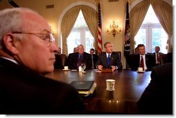 President George W. Bush along with Vice President Dick Cheney meet with Senate Leaders and select ranking committee chairmen in the Cabinet Room at The White House during a morning meeting (today) Wednesday, Sept. 4. White House photo by Paul Morse.