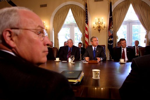 President George W. Bush along with Vice President Dick Cheney meet with Senate Leaders and select ranking committee chairmen in the Cabinet Room at The White House during a morning meeting (today) Wednesday, Sept. 4.