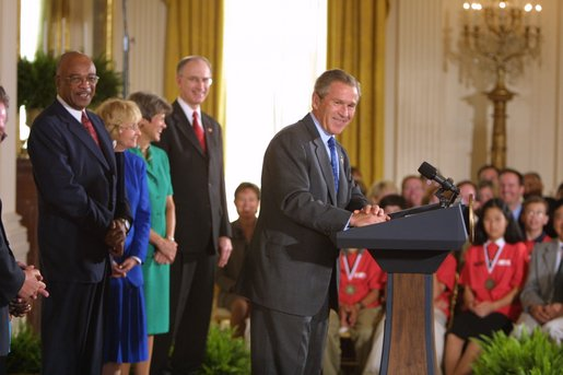 President George W. Bush addresses education leaders during his remarks on Education Implementation in the East Room at the White House Wednesday, Sept. 4. In his first year in office, the No Child Left Behind Act of 2001 was passed with an overwhelming majority in both houses of Congress. Today state and local schools were recognized for their efforts in implementing the act.