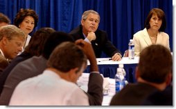 President George W. Bush participates in a roundtable with small business leaders at the Broadbent Arena in Louisville, Kentucky Thursday, September 5, 2002. White House photo by Tina Hager.