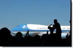 President George W. Bush delivers remarks at the upon arrival at South Bend, Indiana Regional Airport Thursday, September 5, 2002. White House photo by Tina Hager.