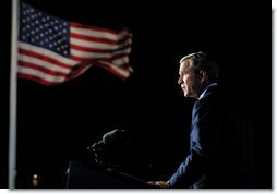 President George W. Bush address the nation from Ellis Island in New York City on the one year anniversary of the terror attacks on September 11. White House photo by Paul Morse.