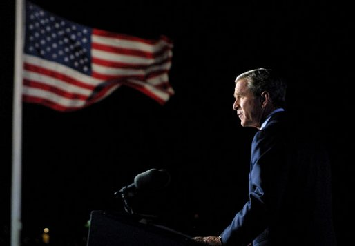 President George W. Bush addresses the nation from Ellis Island in New York City on the one year anniversary of the terror attacks on September 11. White House photo by Paul Morse.
