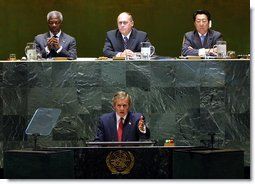 President George W. Bush addresses the United Nations General Assembly in New York City on the issues concerning Iraq Thursday, September 12. White House photo by Paul Morse.