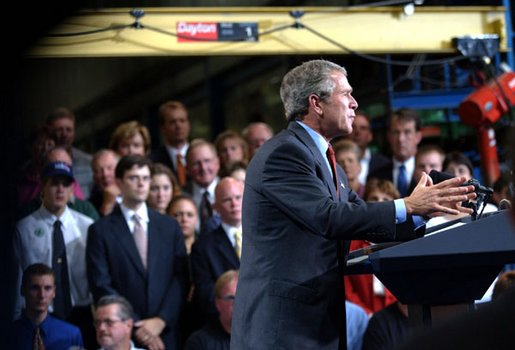 President George W. Bush delivers remarks on the budget at the Sears Manufacturing Company in Davenport , Iowa on Monday, September 16, 2002.