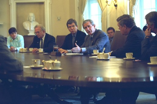President George W. Bush meets with members of Congress in the Cabinet Room of the White House on Wednesday, September 18, 2002, to talk about Iraq. White House photo by Tina Hager.