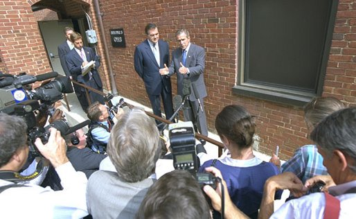 President George W. Bush and Gov.Tom Ridge, Homeland Security Advisor, meet with the press Thursday, Sept. 19, 2002, after visiting the Nebraska Avenue Homeland Security Complex. White House photo by Eric Draper.