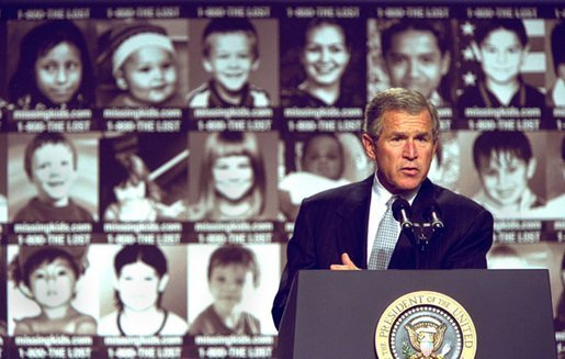 President George W. Bush addresses participants in the first-ever White House Conference on Missing, Exploited, and Runaway Children Wednesday, October 2,2002 at the Ronald Reagan Building and International Conference Center in Washington, D.C. The event helped raise public awareness of steps that parents, law enforcement, and communities can take to make America's children safer. White House photo by Paul Morse