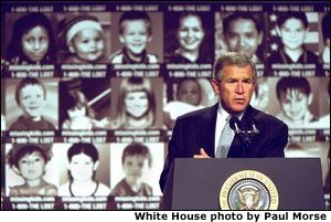 President George W. Bush addresses participants in the first-ever White House Conference on Missing, Exploited, and Runaway Children Wednesday, October 2,2002 at the Ronald Reagan Building and International Conference Center in Washington, D.C. The event helped raise public awareness of steps that parents, law enforcement, and communities can take to make America\'s children safer. White House photo by Paul Morse. None