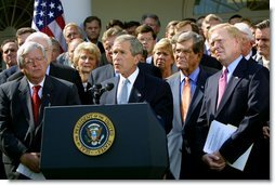 "President George W. Bush along with bipartisan leaders from the House and Senate announced the Joint Resolution to authorize the use of the United States Armed Forces against Iraq. ""The statement of support from the Congress will show to friend and enemy alike the resolve of the United States,"" President Bush said during the announcement in the Rose Garden, Wednesday, October 2, 2002. White House photo by Paul Morse."