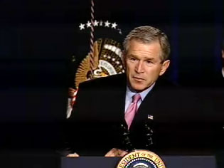 President Bush Friday highlighted American humanitarian efforts in Afghanistan and called for continued support of Afghanistan and the Afghan people. White House screen capture.