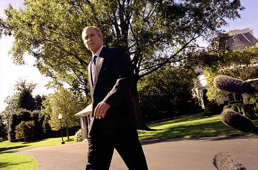 "President George W. Bush discusses recent terrorist attacks on the Indonesian island of Bali on the South Lawn Monday, Oct. 14. ""We've got to continue to work together; those of us who love freedom must work together to do everything we can to disrupt, deny, and bring to justice these people who have no soul, no conscience, people who hate freedom,"" said the President. White House photo by Paul Morse."