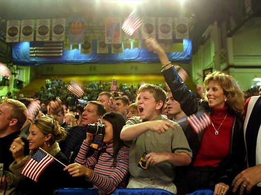 Crowds cheer for President George W. Bush during a welcome rally at Southwest Missouri State University in Springfield, Mo., Friday, Oct. 18. White House photo by Paul Morse.