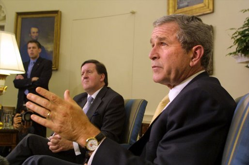 President George W. Bush and NATO Secretary General Lord Robertson hold a joint press conference in the Oval Office Monday, Oct. 21.