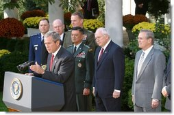 President George W. Bush addresses the media during the signing of the Department of Defense Appropriations Bill in the Rose Garden Wednesday, Oct. 23. White House photo by Paul Morse.