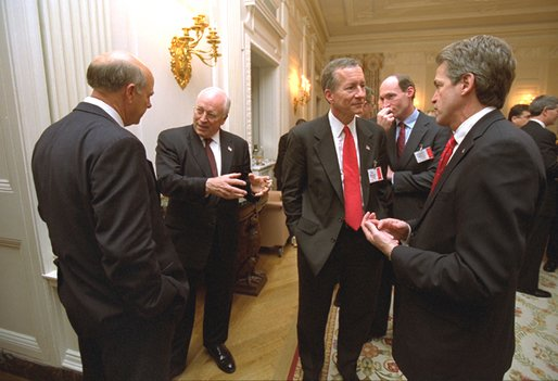 Vice President Dick Cheney talks with Rep. Steve Pearce, R-N.M., during a reception for the newly elected members of Congress in the State Dining Room at the White House Tuesday, Nov. 12. Also pictured are, from left to right, Rep. Jim Marshall, D-Ga., Sen. Thaddeus McCotter, R-Mich., and Sen. Norm Coleman, R-Minn. White House photo by David Bohrer.
