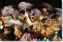Color and cheer blur together in a loud welcome during President George W. Bush's visit to Harrisburg, Pa., Nov. 1.  White House photo by Paul Morse