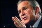 President George W. Bush speaks at the Illinois Welcome at the Illinois Police Armory in Springfield, Illinois, Sunday, Nov. 3, 2002 White House photo by Eric Draper.
