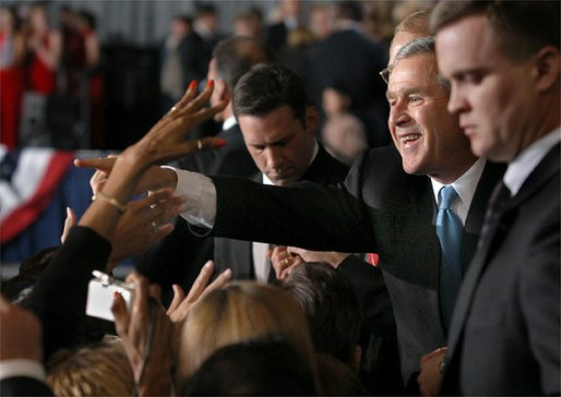 President George W. Bush greets audience members after speaking at the Arkansas Welcome in Bentonville, Ark., Monday, Nov. 4. White House photo by Eric Draper.