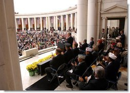 President George W. Bush gives remarks on Veterans Day at Arlington National Cemetery on Monday  White House photo by Paul Morse