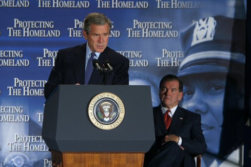"President George W. Bush delivers remarks about the need to have the Senate pass the Homeland Security Bill during the Lame Duck session of Congress after his tour of the District of Columbia's Metropolitan Police Department Synchronized Operations Center, Tuesday, Nov 12. ""The Congress is in session today, and the House and the Senate have pressing responsibilities to work with us for our security. And I'm confident they'll meet those responsibilities. And the single most important business before Congress is the creation of a department of homeland security,"" said President Bush. White House photo by Paul Morse"