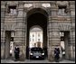 President George W. Bush's limousine waits at Prague Castle as he meets with the Foreign Minister of the Czech Republic Wednesday, Nov. 20. White House photo by Paul Morse