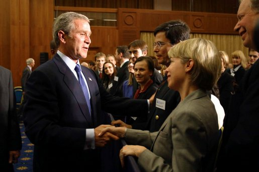 President George W. Bush greets participants of the Prague Atlantic Student Summit in Prague, Czech Republic, Wednesday, Nov. 20. White House photo by Paul Morse.