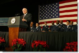 "More than 1,500 Air Force Air National Guard members listen as Vice President Dick Cheney discusses the role the Guard plays in the war on terrorism during the Air National Guard Senior Leadership Conference in Denver, Monday, Dec. 2. ""For all the challenges we face, the United States of America has never been stronger than we are today,"" said the Vice President, noting that there are approximately 11,000 mobilized and volunteer members of the Air National Guard serving at home and oversees. ""We are using our great strength not to dominate others, but to lift the dark threat of terrorism from our country and from our world.""  White House photo by David Bohrer"