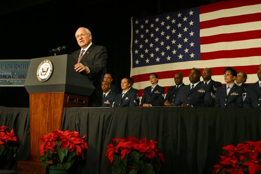 "More than 1,500 Air Force Air National Guard members listen as Vice President Dick Cheney discusses the role the Guard plays in the war on terrorism during the Air National Guard Senior Leadership Conference in Denver, Monday, Dec. 2. ""For all the challenges we face, the United States of America has never been stronger than we are today,"" said the Vice President, noting that there are approximately 11,000 mobilized and volunteer members of the Air National Guard serving at home and oversees. ""We are using our great strength not to dominate others, but to lift the dark threat of terrorism from our country and from our world."" White House photo by David Bohrer."