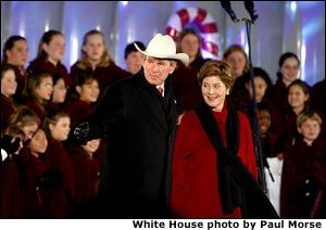 President George W. Bush and Laura Bush attend the Pageant of Peace Tree Lighting on the Ellipse near the White House Thursday, Dec. 5.