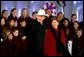 President George W. Bush and Laura Bush attend the Pageant of Peace Tree Lighting on the Ellipse near the White House Thursday, Dec. 5.   White House photo by Paul Morse