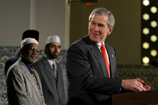 President George W. Bush marks Eid al-Fitr, the end of the Muslim holy month of Ramadan, with an address at the Islamic Center of Washington, D.C., Thursday, Dec. 5. White House photo by Paul Morse