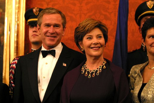 President George W. Bush and Mrs. Bush attend a dinner for NATO leaders hosted by the Czech Republic at Prague Castle in Prague, Czech Republic, Nov. 20. White House photo by Paul Morse.