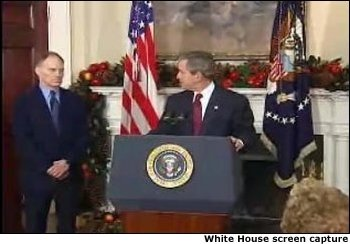 President George W. Bush names Stephen Friedman as Director of the National Economic Council. White House screen capture. White House screen capture