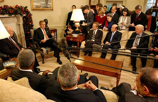 President George W. Bush and Vice President Dick Cheney meet with the Quartet Principals to discuss the Israeli-Palestinian issue in the Oval Office Dec. 20. Attending the meeting are, from left to right, United Nations Secretary General Kofi Annan, Secretary of State Colin Powell, Danish Foreign Minister Per Stig-Moeller, Russian Foreign Minister Sergei Ivanov, European Union Commissioner for External Relations Chris Patten and European Union High Representative Javier Solana. White House photo by Tina Hager.