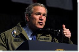 "President George W. Bush speaks to troops during his visit to Fort Hood in Killeen, Texas, Friday, Jan. 3, 2003. ""Our country is in a great contest of will and purpose. We're being tested. In times of crisis, we will act decisively,"" said the President in his remarks. ""And in times of calm, we'll be focused and patient and relentless in our pursuit of the enemy. That's what we owe the American people.""  White House photo by Eric Draper"