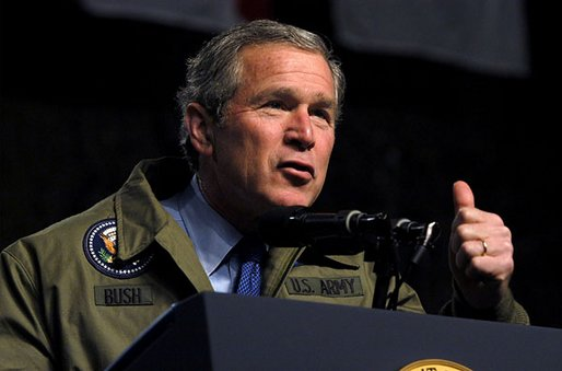 "President George W. Bush speaks to troops during his visit to Fort Hood in Killeen, Texas, Friday, Jan. 3, 2003. ""Our country is in a great contest of will and purpose. We're being tested. In times of crisis, we will act decisively,"" said the President in his remarks. ""And in times of calm, we'll be focused and patient and relentless in our pursuit of the enemy. That's what we owe the American people."" White House photo by Eric Draper."